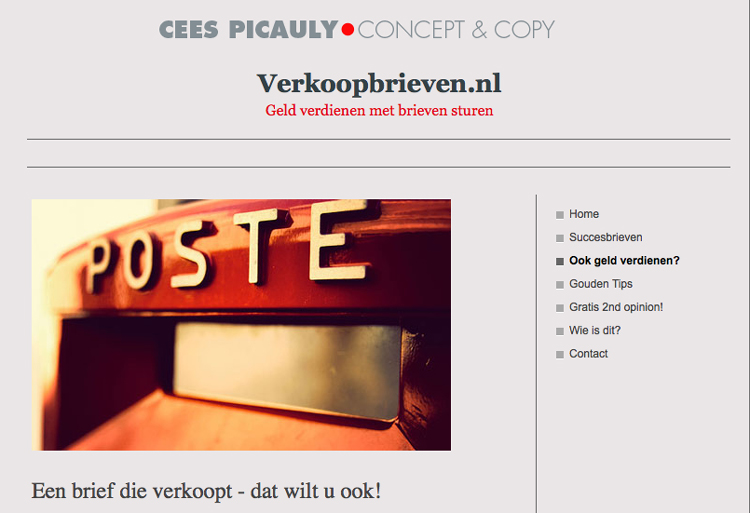 Verkoopbrieven.nl website